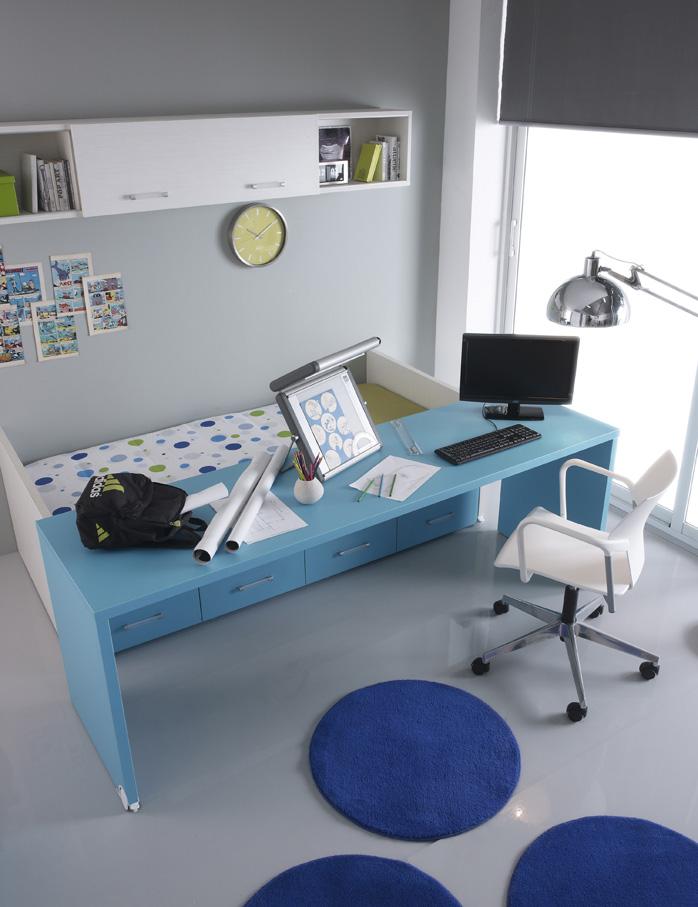 Dormitorio juvenil con escritorio extraíble (1694 - J14), disponible en CASANOVA.