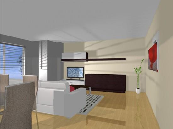 Proyecto virtual para la decoración integral de un salón comedor en Valencia.