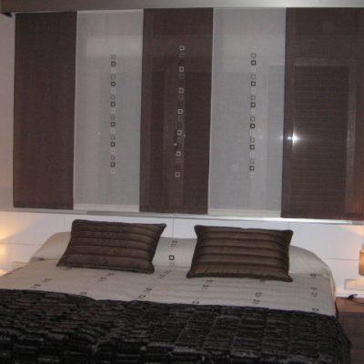 Proyecto BT desarrollado por CASANOVA: panel japonés y ropa de cama para un dormitorio.