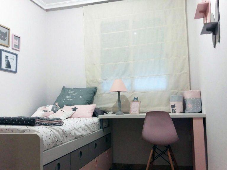Proyecto 16948 desarrollado por CASANOVA en Sueca (Valencia): cama compacta, zona de estudio, iluminación y decoración textil de los dormitorios juveniles (6).