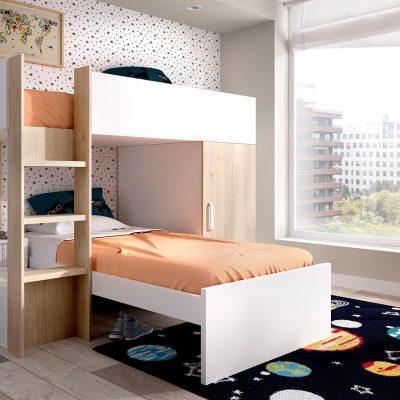 Dormitorio juvenil con litera (237 - J83a), disponible en CASANOVA.